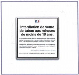 affiche interdiction vente tabac mineurs